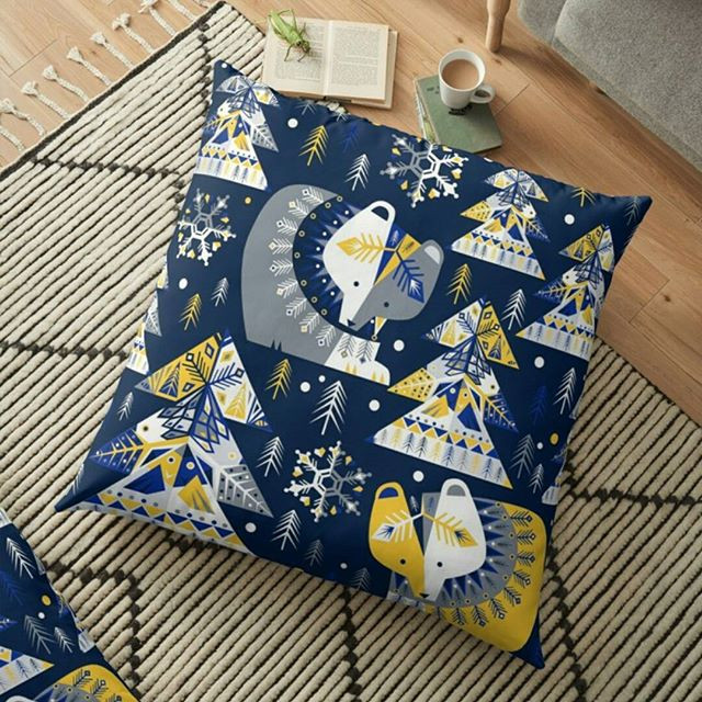 You can find my geometrical winter design in blue...available as fabric, wallpaper and giftwrap o  #spoonflower ...jpg