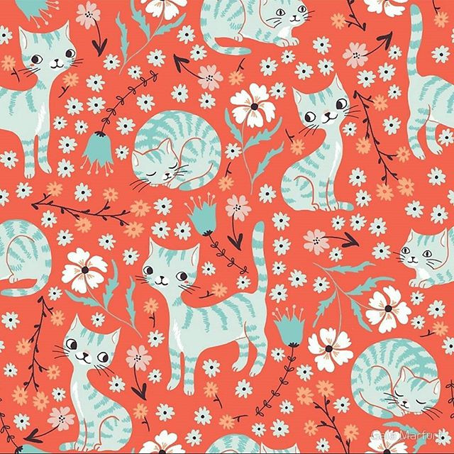 Some cats on my Spring collection 😊_#springfabric #spring #cat #springcollection #textiledesign #homedecor #pillow #phonecase #fabrics  #tes