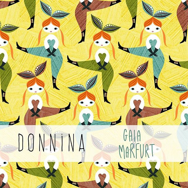 Another pattern design is now available on my Spoonflower shop ☺_I'm in love with my little women (donnine in italian) dancing all together!