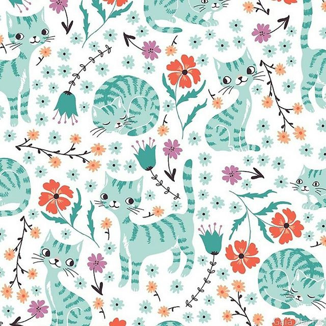I'm creating many color versions of this pattern, I love this pastel palette! 😊_You can find my Spring Collection available as fabric on my_