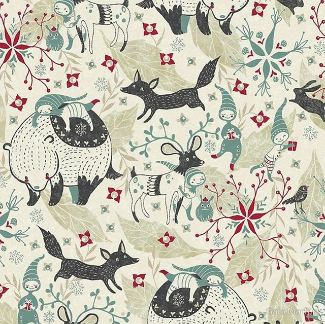 New Whimsical Christmas pattern! I'm creating these patterns with Gimp and my old Wacom tablet ☺_#redbubble #spoonflower #gimp #patterndesig