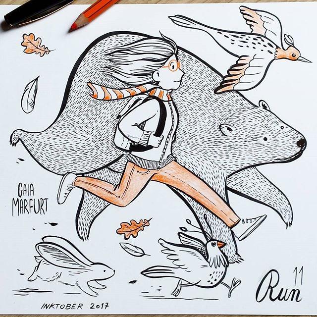 #inktober2017 day 11_ Run! 😄_#sketch #run #running #bear #girl #imlate #kuretakeinktober #spoonflower #ink #illustration