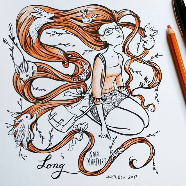 #inktober2017 day 5_ long ☺_#inktober #brushpen #sketch #girl #longhair #hair #justdraw #doodle #ink #kuretake #illustration #fantasy #whims