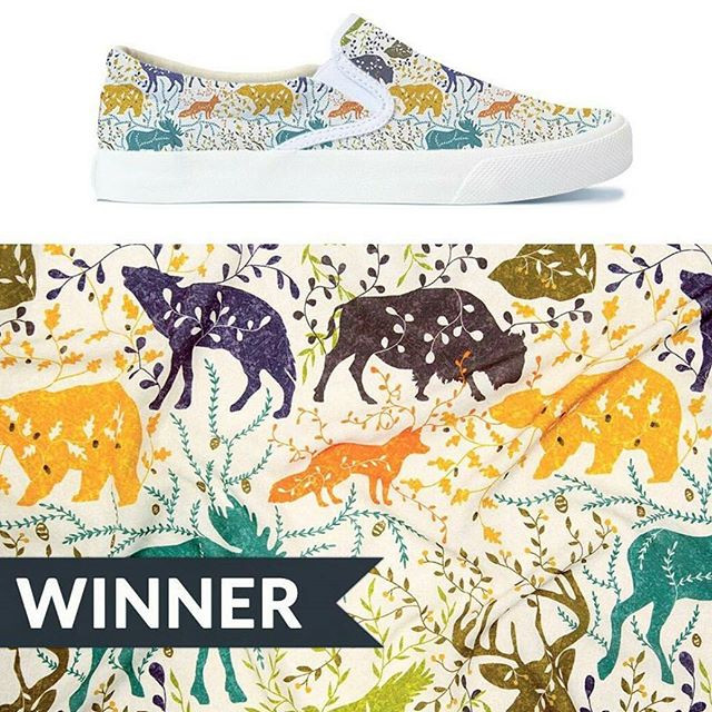 I'm the Mountain Animal Design Challenge Winner! Sooooo happy! 😁😁😁😁😁😁😁😁😁😁😁😁_#spoonflower #bucketfeet #patterndesign #textiledesign #artlicen