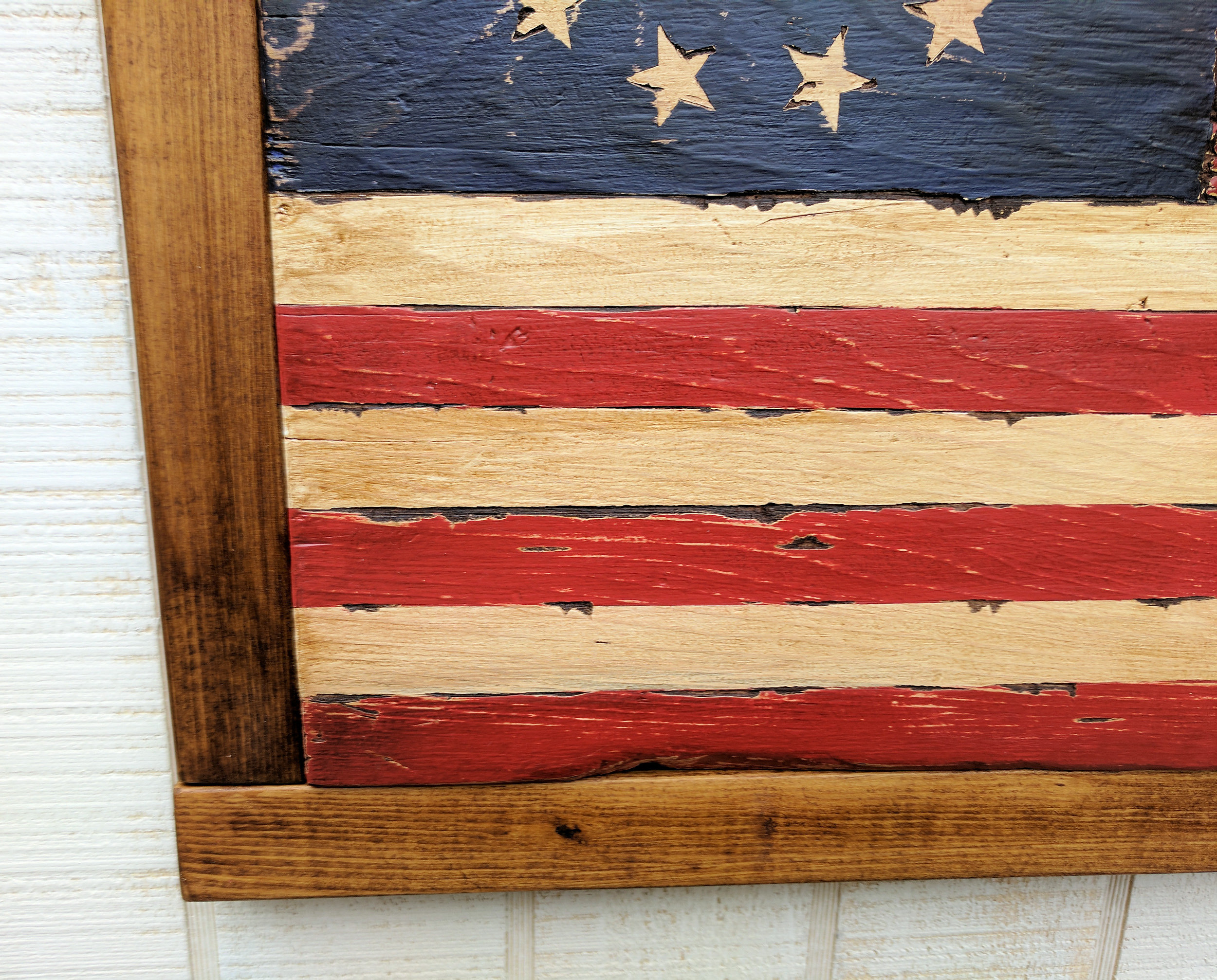 Colorful Wood American Flag Wall Decor Sketch - The Wall Art ...