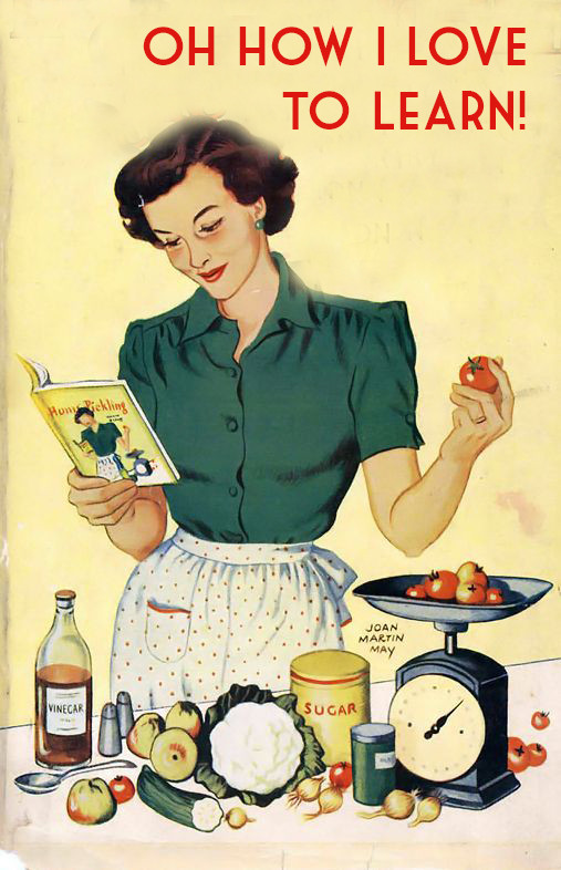 Canning and preserving - learning how to can food - vintage poster