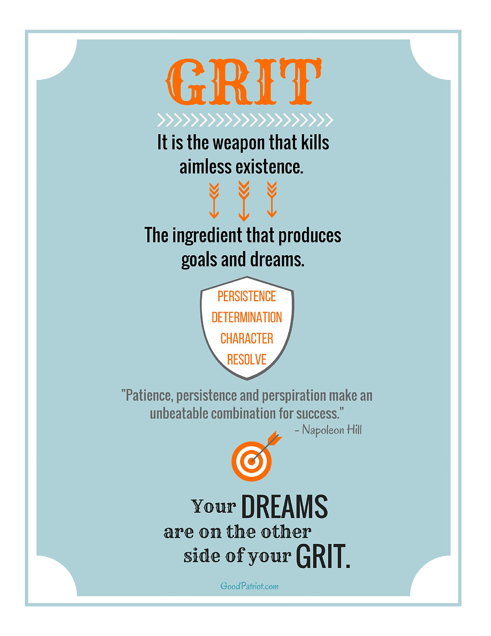 A FREE motivational graphic about having GRIT