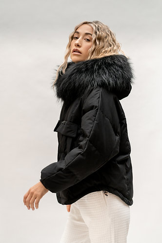 Piano Black Fur Trimmed Puffer