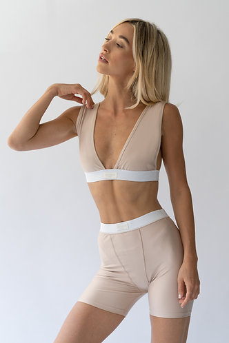 Nude / White Band Bralette