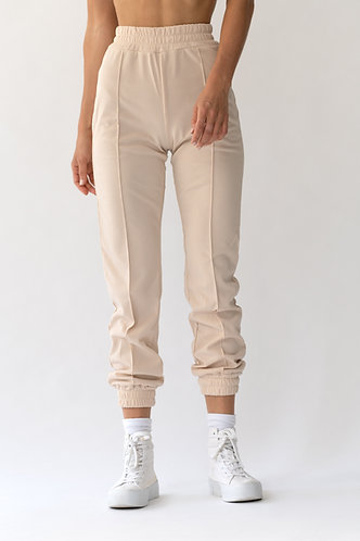Nude Ribbed Track Pants