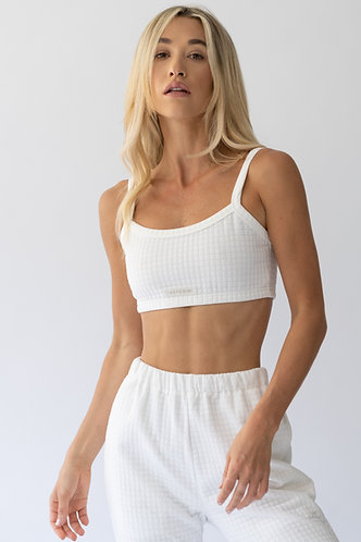 Polar White Quilted Crop Top
