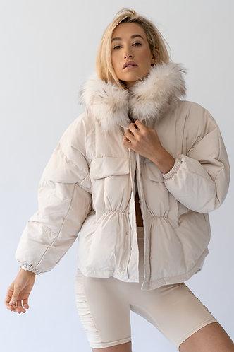 Creme Fur Trimmed Puffer Jacket