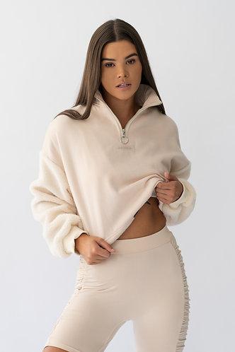 Creme Cropped Zip Sweatshirt