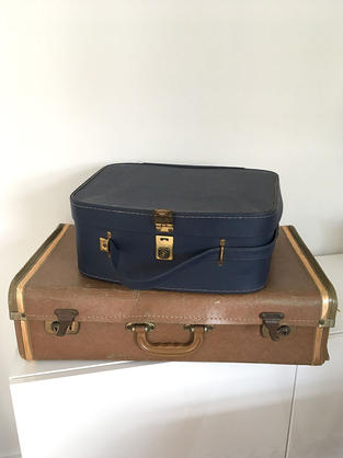 Suitcases - Brown, £8 to hire   Blue, £5 to hire