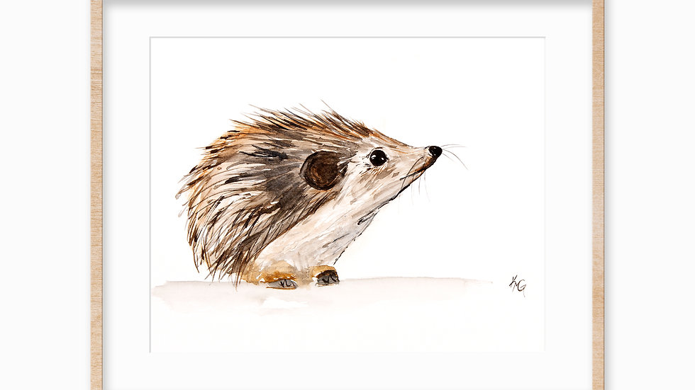 Hedgehog- Watercolor Print