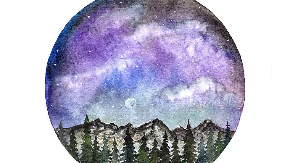 Mountain Sky Circle- Watercolor Print