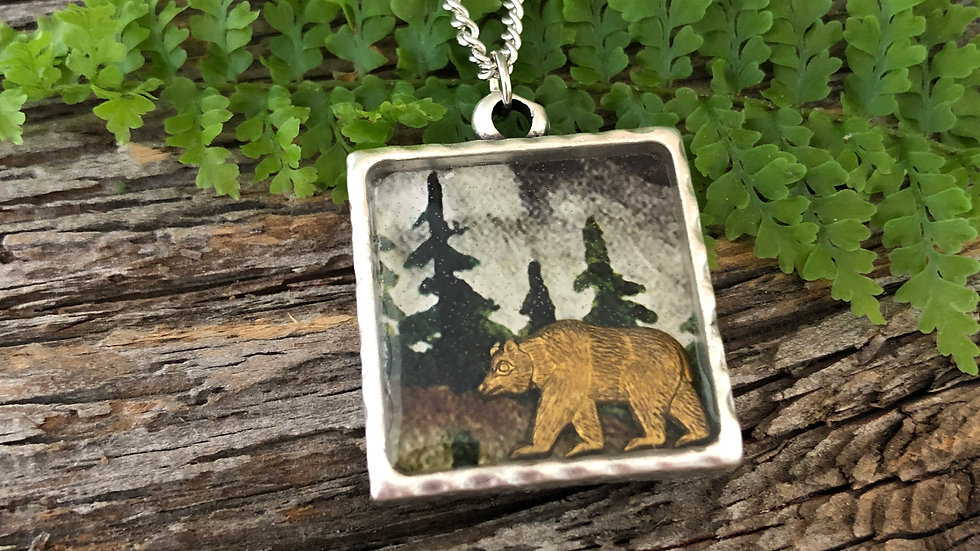 Trees with Bronze Bear Charm