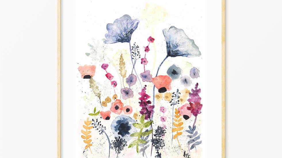 Wildflowers 3- Watercolor Print