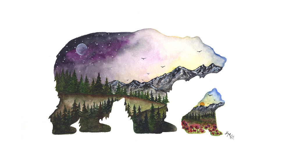 Mountain Bear and Cub - Watercolor Print