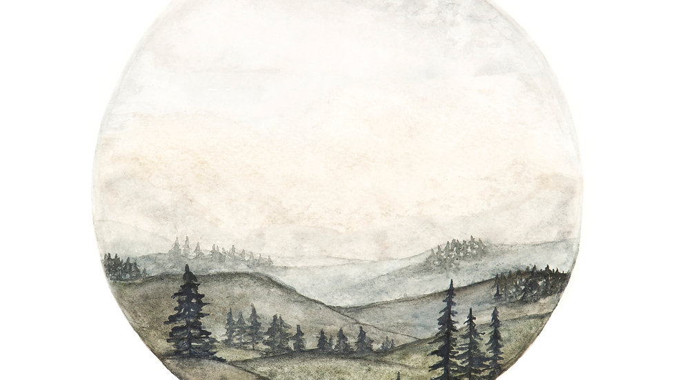 Mountain Circle- Watercolor Print