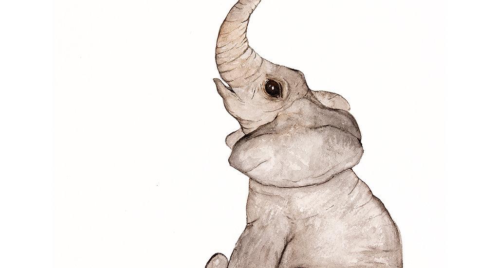 Elephant- Watercolor Print