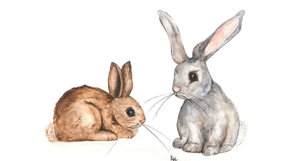 Rabbits- Watercolor Print
