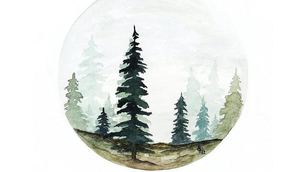 Tree Circle- Watercolor Print