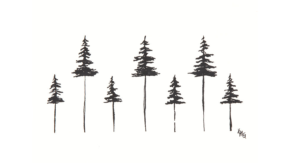 Stick Trees- Watercolor Print