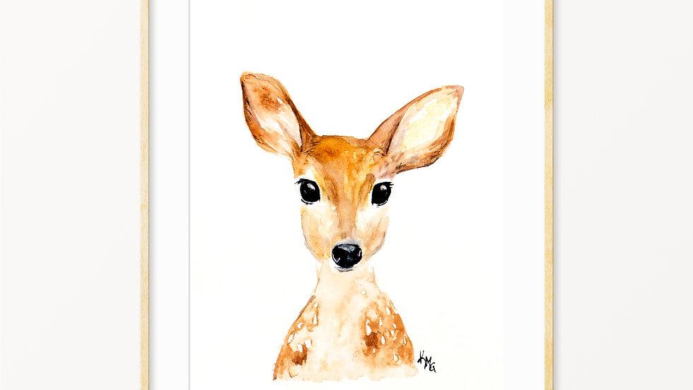 Deer Face- Watercolor Print