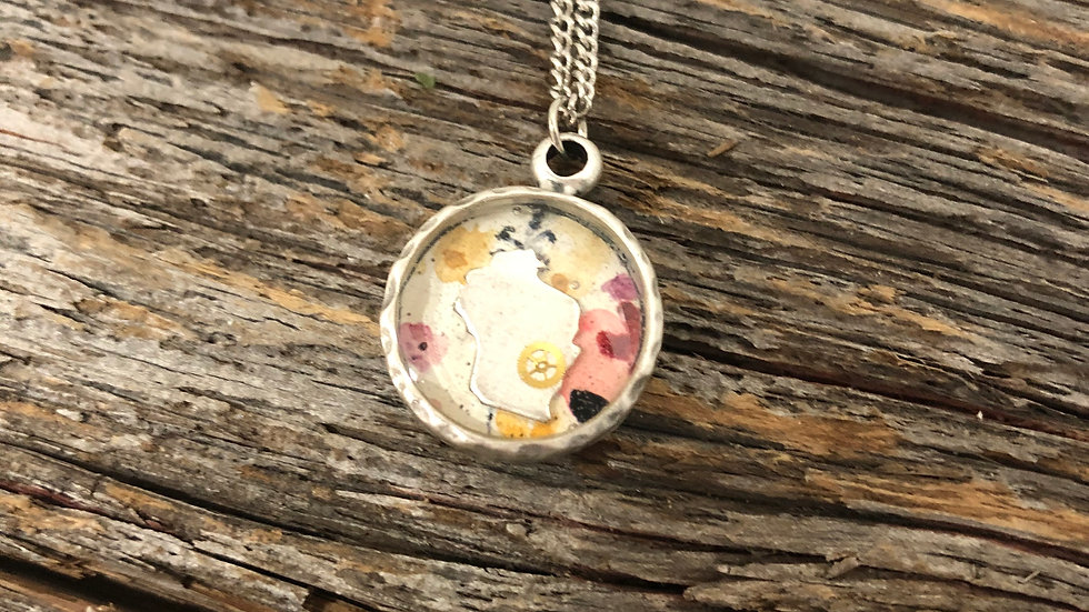 Wisconsin Pendant with Floral Print in Silver
