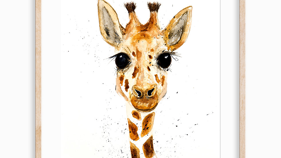 Giraffe Face- Watercolor Print