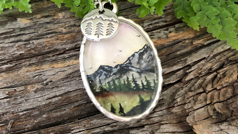 Mountain Scene with Tree Charm in Silver