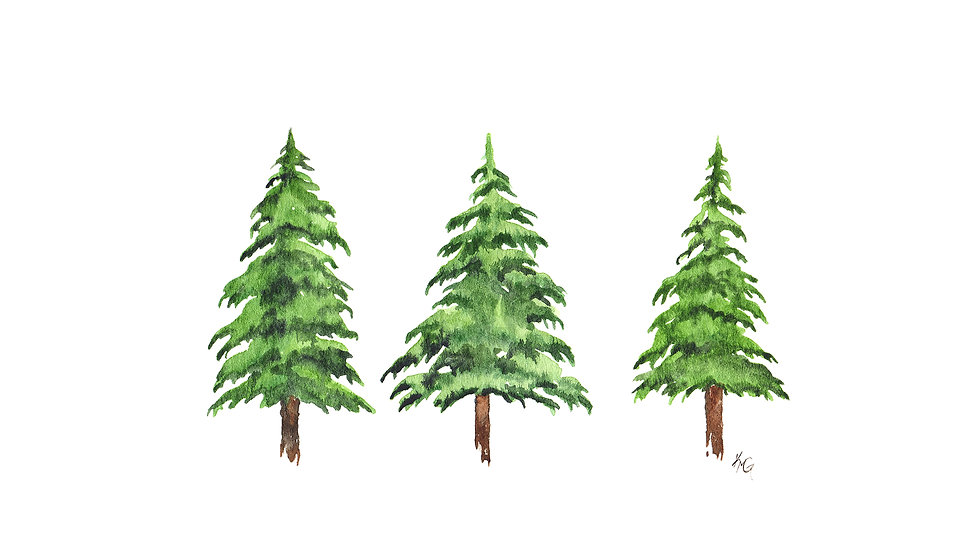 Three Pines- Watercolor Print