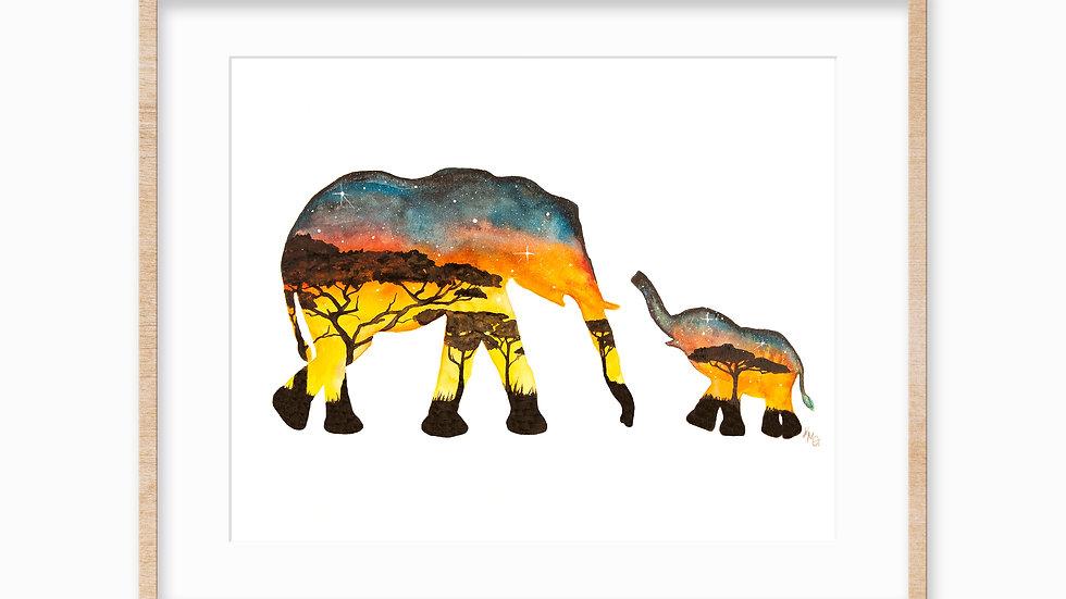 African elephants- Watercolor Print
