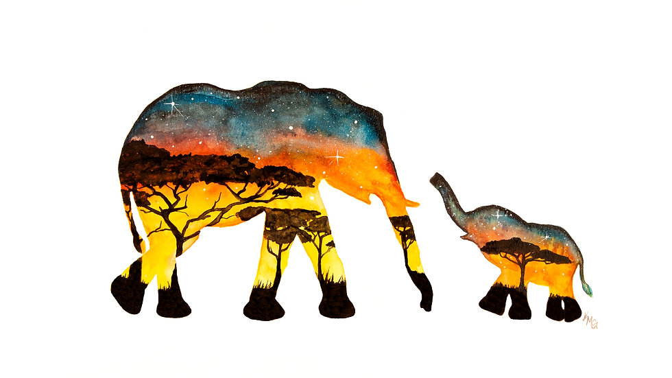 African elephants- Watercolor Print