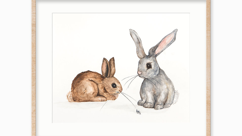Rabbits- Watercolor Print