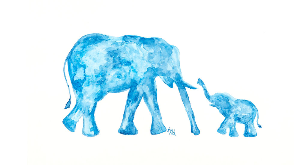Elephants BLUE- Watercolor Print
