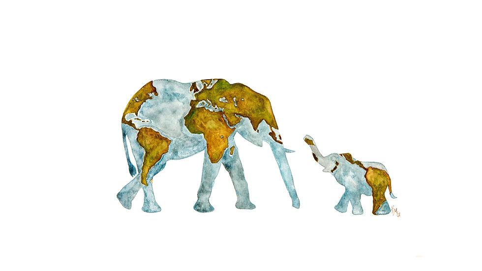 Elephants World Map- Watercolor Print