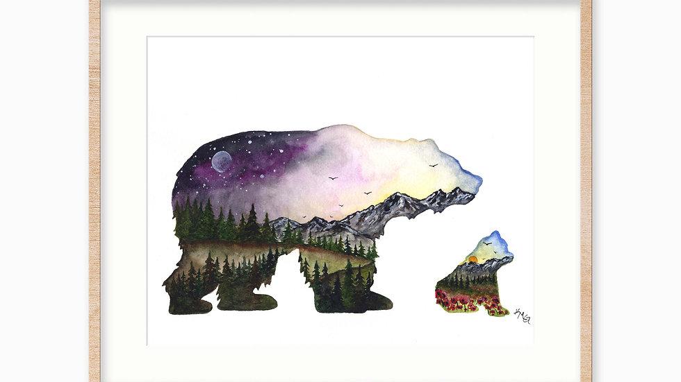 Mountain Bear and Cub - Watercolor Print