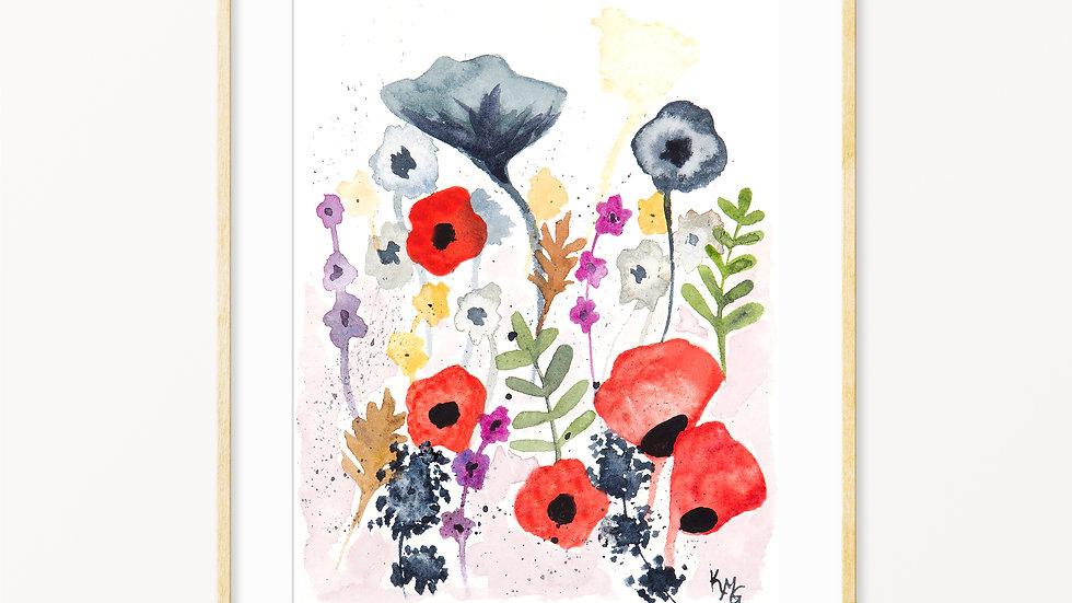 Wildflowers 2- Watercolor Print