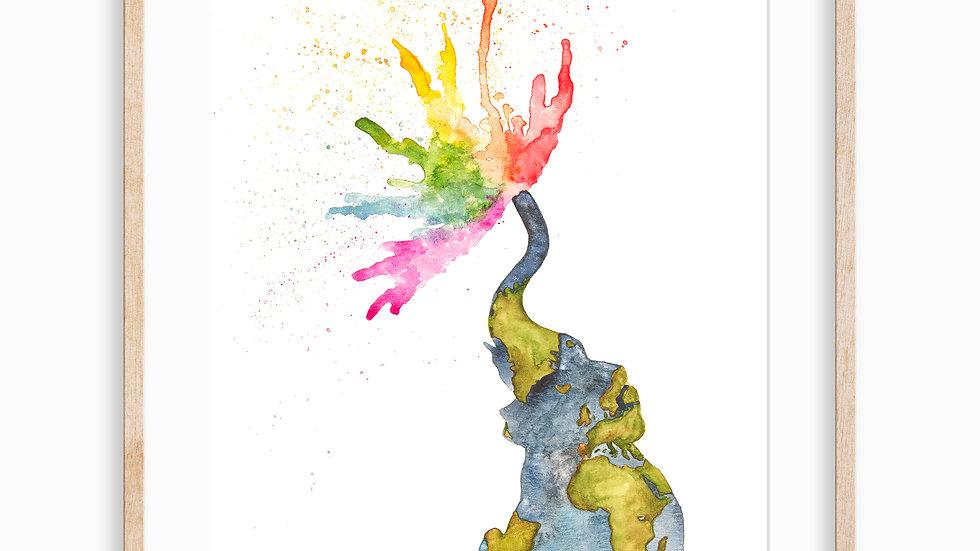 Colorful Elephant- Watercolor Print