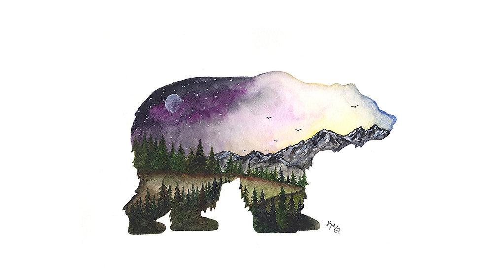 Mountain Bear - Watercolor Print