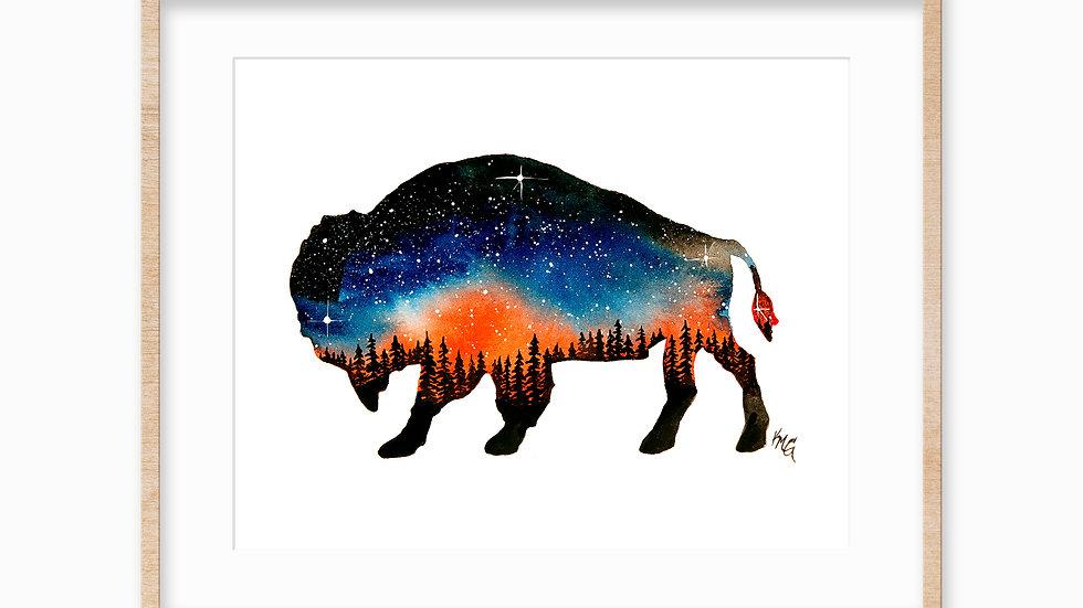 Buffalo Night Sky- Watercolor Print
