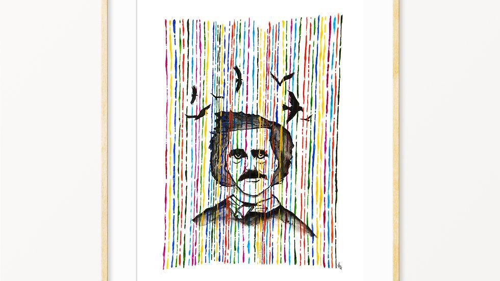 Edgar Allan Poe- Watercolor Print