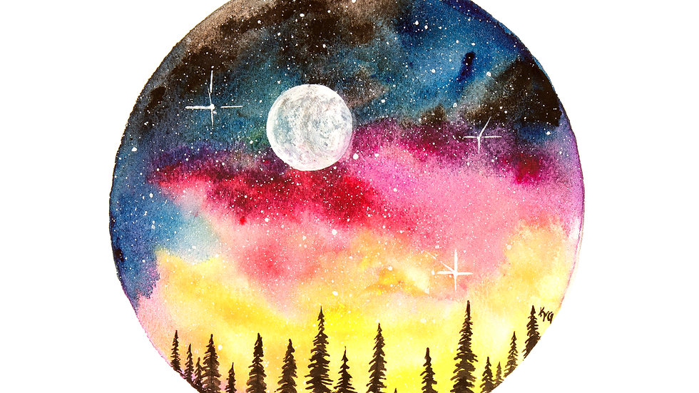 Night Sky Circle- Watercolor Print