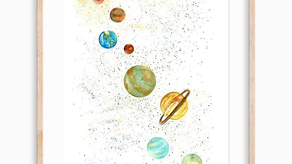 Solar System- Watercolor Print