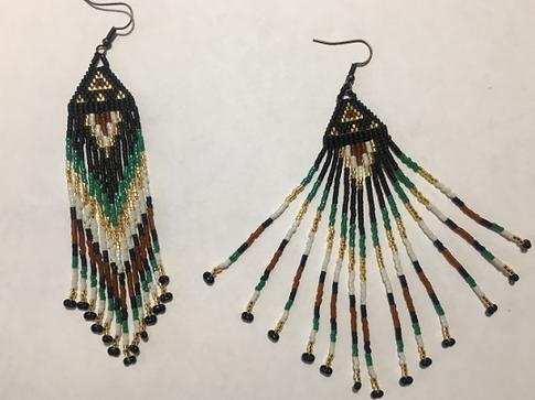 Native American g;ass bead Dangle Earrings
