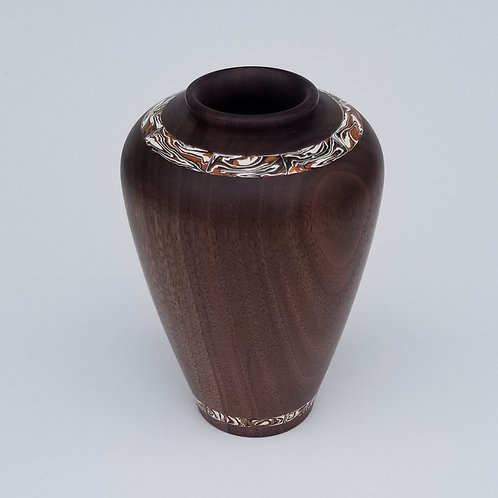 Black Walnut Hollow Form Vase With Inlay