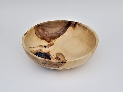 Curly Cottonwood Wood Fruit Bowl w/ Blue Resin