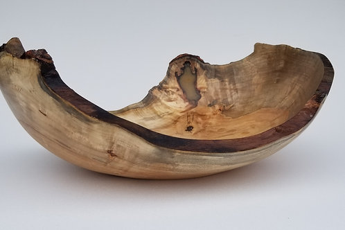 Natural Live Edge Silver Maple Wood Bowl